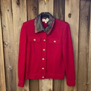 St John Red Leather Collar Jacket